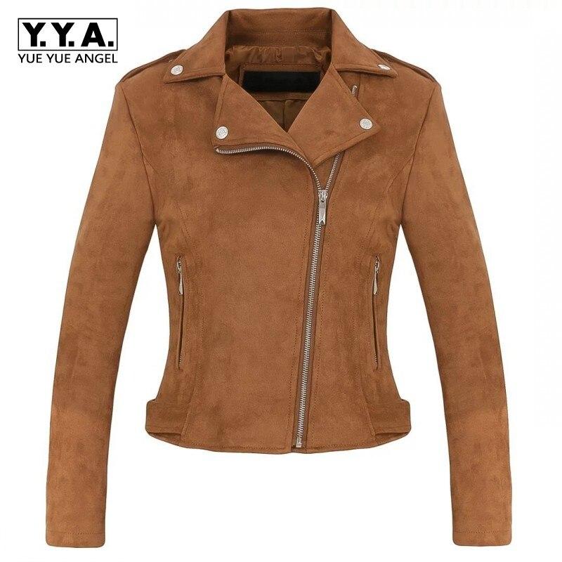 2019 Autumn Winter New Female Solid Jacket Fashion Faux   Suede   Lapel Collar Outwear Casual Pocket Zipper Ladies Short Coats