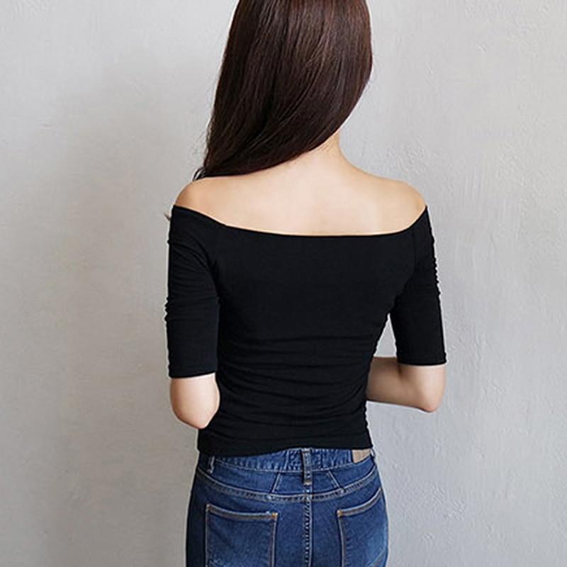 Short Sleeve Tshirt Women Cotton Summer T Shirt Off Shoulder Tops Tee Shirt T-Shirt Clothes 2019 femme