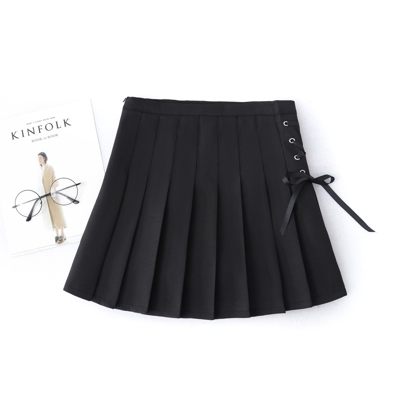 Sexy Preppy Style 2019 Summer And Autumn Chic Skirt Pleated Solid With Bow Above Knee Sweet Empire Waist All-Match Skirts