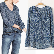 Plus Size Women Blouse Nice New Fashion Women's Clothing Pops Ladies Vintage Print Cotton Blouse Shirts All-Matched Blusa