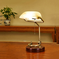 Classical vintage banker lamp table lamp E27 with switch Green/Yellow glass lampshade desk lights for bedroom study home reading