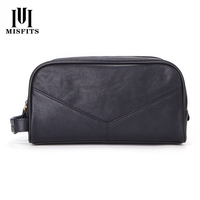 New Men's Genuine Leather Casual Multi functional Makeup Wash bags Cowhide Fashion Double Zipper Handbag Man Clutch Bag