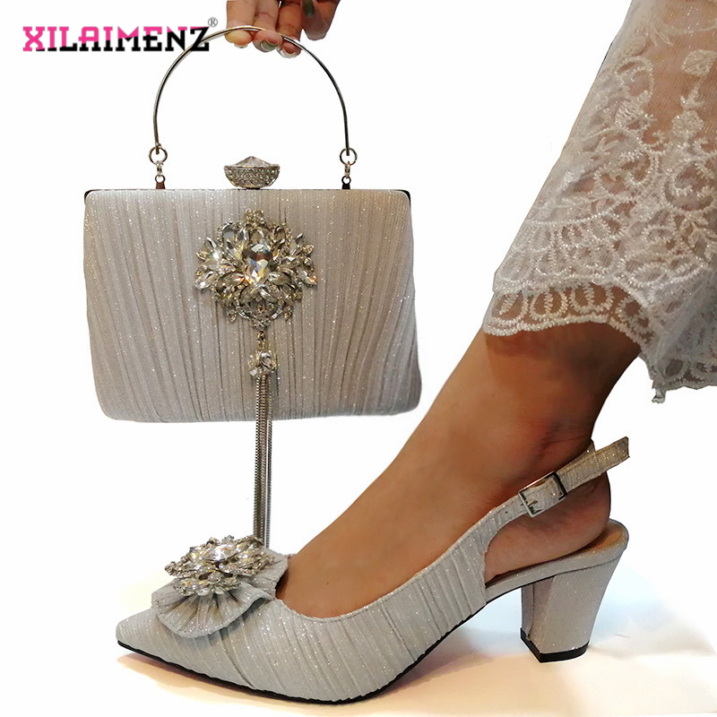 Image 2 - Pink Color Nigerian Sandals with Matching Bag for Woman Pointed  Toe Shoes and Purse Set High Quality with Crystal for PartyWomens  Pumps