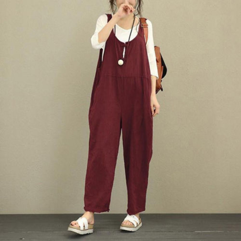 summer 2018 new casual jumpsuit Women Sleeveless Dungarees Overall Long Playsuit Jumpsuits Romper Pant Trousers