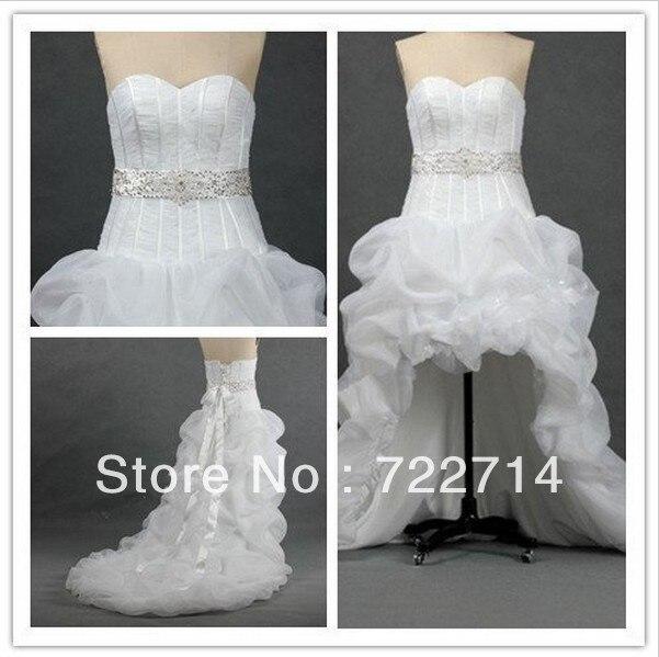 Low Waist Wedding Gowns: Beautiful Sweetheart Sleeveless Pleated Organza Beading