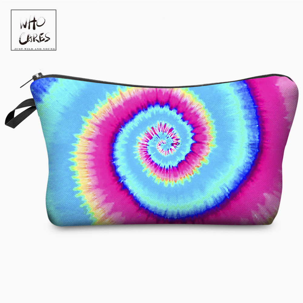 Makeup-Bags Ladies Pouch Rainbow-Printing Travel Women Fashion Who Cares with Multicolor-Pattern