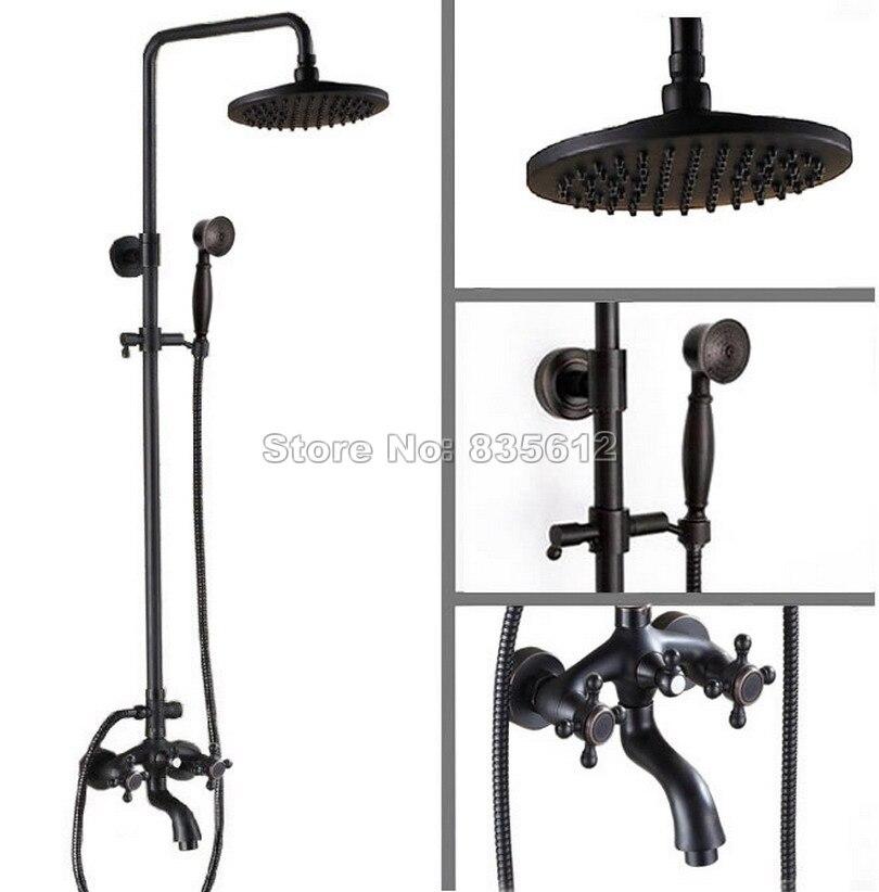 Bathroom Dual Handles Black Oil Rubbed Bronze Rainfall Shower Set Faucet + Tub Mixer Tap + Handheld Shower Wall Mounted Wrs454