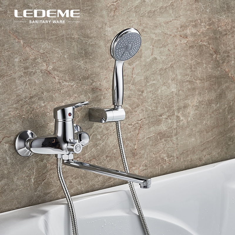 LEDEME Bathtub Faucet Shower Set Copper Body Showers with Handhead ABS Shower Head Long Spout Shower Faucet For Bathroom L2207LEDEME Bathtub Faucet Shower Set Copper Body Showers with Handhead ABS Shower Head Long Spout Shower Faucet For Bathroom L2207