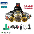 Yellow Light Led Headlight 3T6 9000Lm led Head Lamp Rechargeable Headlamp Flashlight Head Torch Linterna Xml T6+2Q5 7500Lm