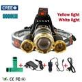 Yellow Light Led Headlight 3T6 9000Lm led Head Lamp Rechargeable Headlamp Flashlight Head Torch Linterna Xml T6+2Q5 7500Lm
