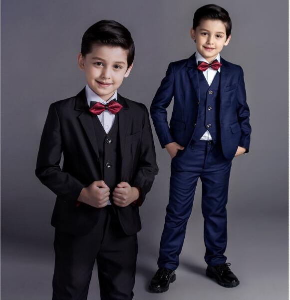 DHL4 Pieces / Wholesale Nimble Boys Formal Suits Solid Single Breasted Baby Boy Clothes Flat Toddler Jacket Blazer For Child single boy