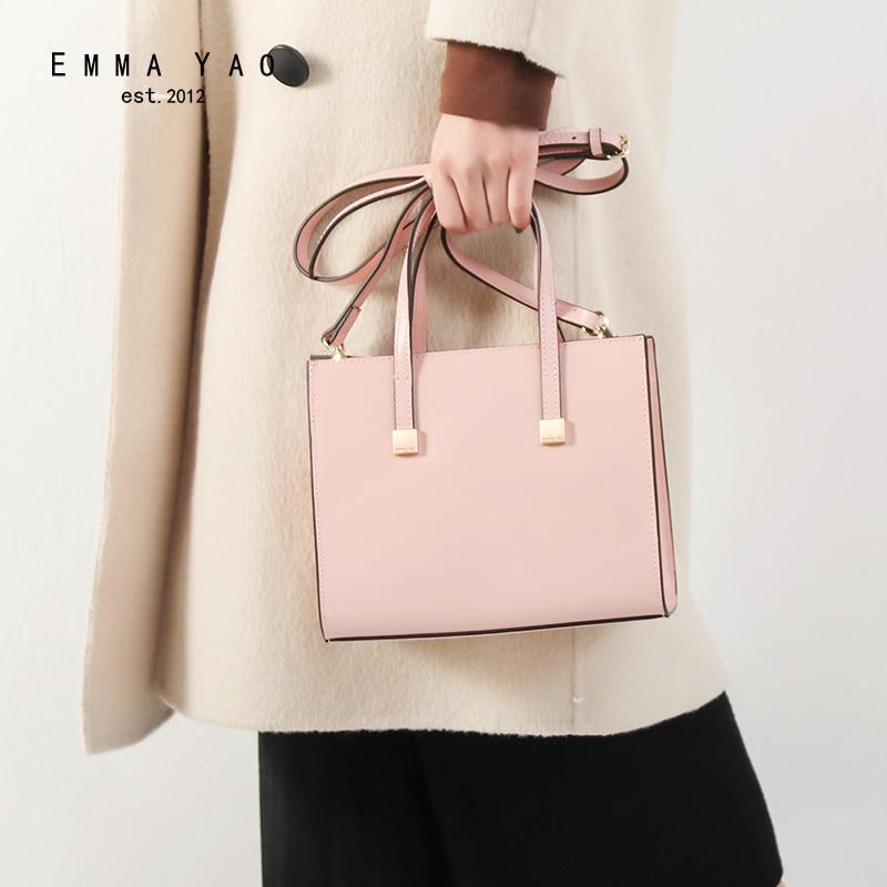 EMMA YAO leather women bag fashion korean tote bag new designer women shoulder bag цена 2017