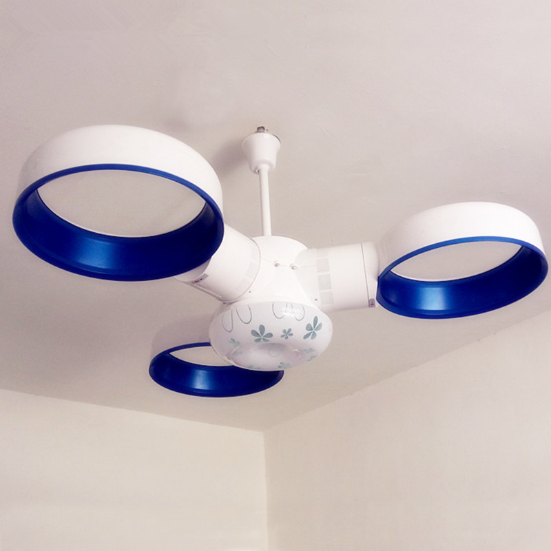 wongshi Blue Pink Modern High tech Bladless Ceiling Fans with Remote Control 12W Cold White Ceiling light for Dinning room