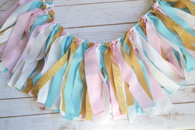 New Pastel Blue Pink Banner Gold White Fabric Rag Banner ...