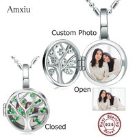 Amxiu 100% 925 Sterling Silver Charms Engrave Photo Name Round Pendants DIY Picture Jewelry For Wedding Women Girls Gifts ID Tag