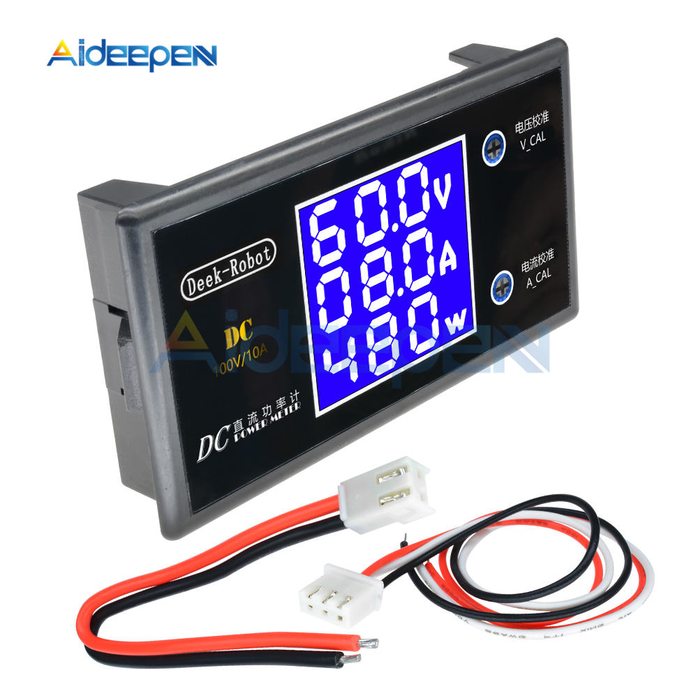 DC 0-100V 0-50V 5A 10A LCD Digital Voltmeter Ammeter Wattmeter Voltage Current Power Meter Volt Detector Tester 250W 1000W 7