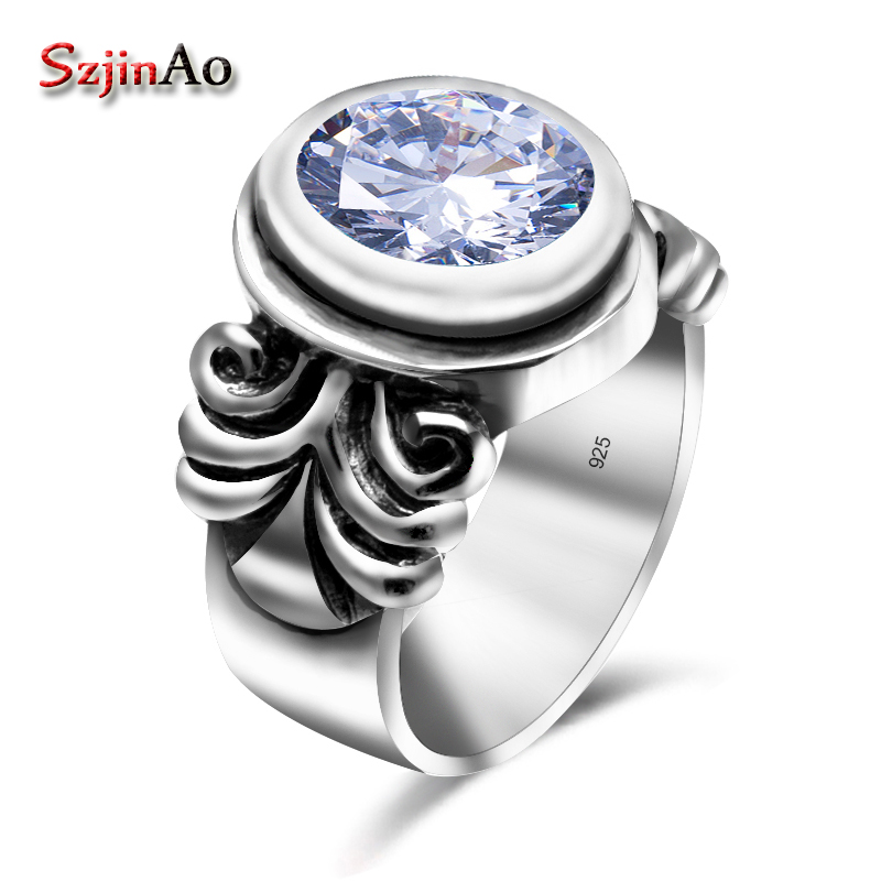 Szjinao Genuine 925 Sterling Silver Ring Classic Wedding Skull Fine Jewelry Oval Cubic Zircon Rings For Women Bridesmaid Gifts