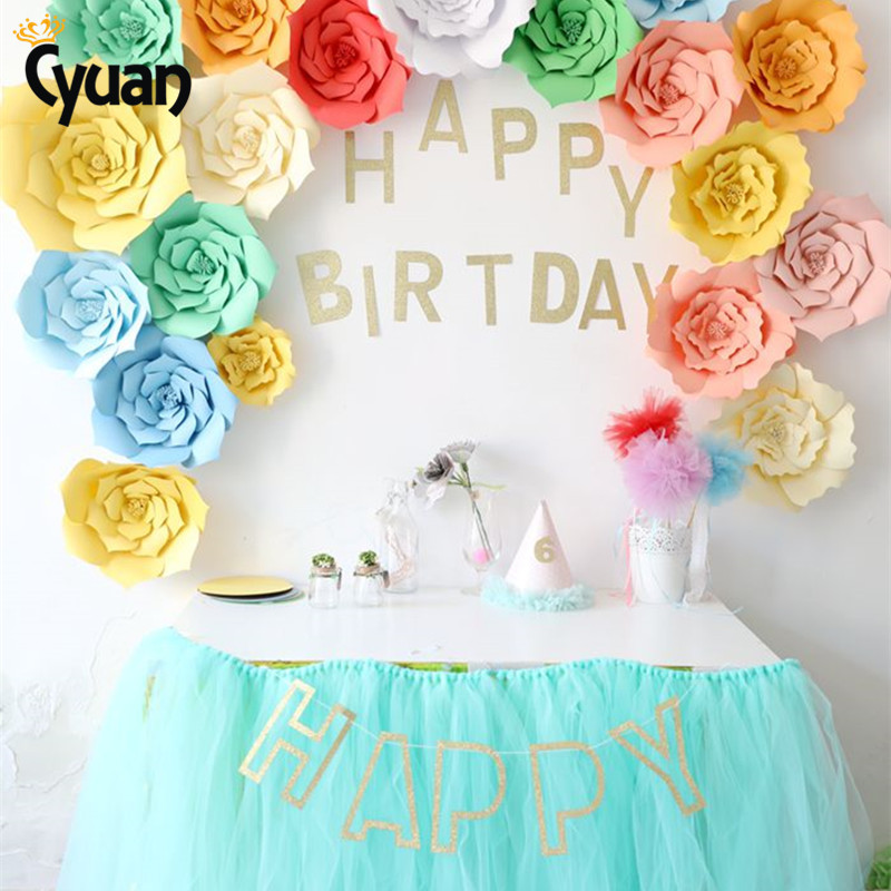 Cyuan 23pcs cute diy flower paper backdrop glitter happy for Party decorations to make at home