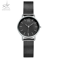Fashion Watch Women Simple Black Mesh Band Bracelet Analog Shengke Ladies Wristwatches Relogio Feminino Montre Clock New
