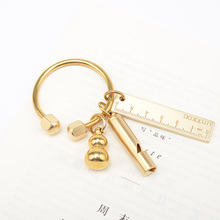 Nordic Style Copper Key Ring Half Circle Storage Holder Simplicity style KeyChains For Man Woman