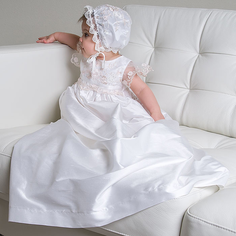 ФОТО With Hat Baby Girl Baptism Dresses New White Summer style Sleeveless Lace Taffeta Baby Dresses Vestido De Festa Longo