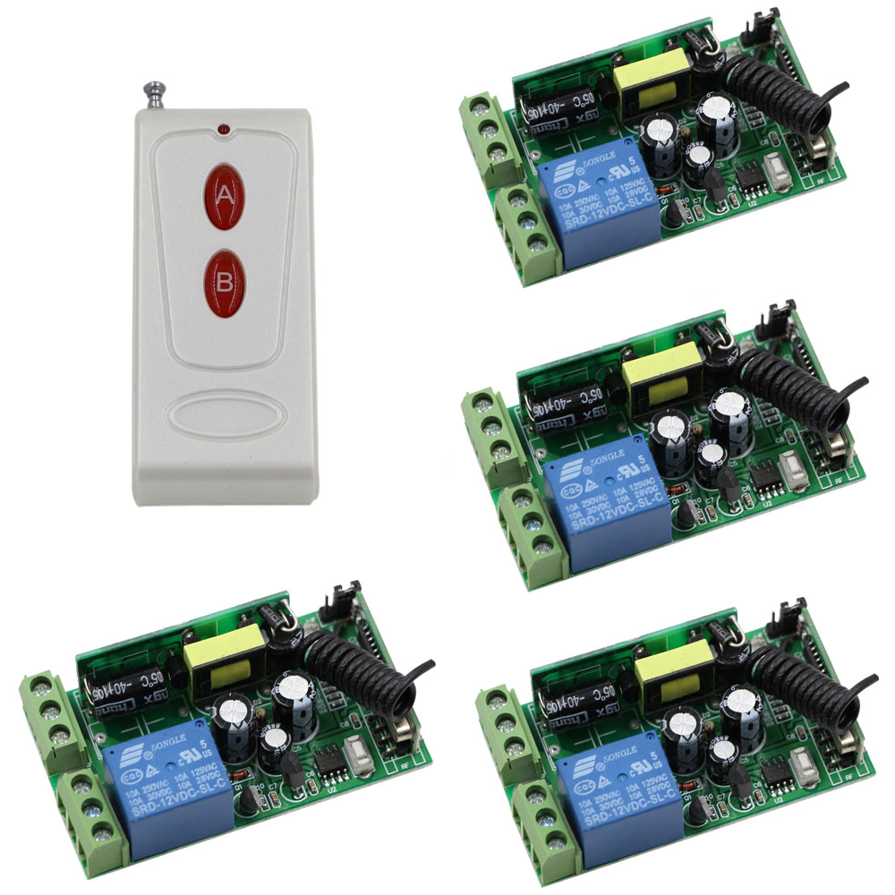 Most Simple Wiring  AC85V- 250V 1CH RF Wireless Remote Control Switch System 1*White Remote Controller+4* Receiver With Cover new restaurant equipment wireless buzzer calling system 25pcs table bell with 4 waiter pager receiver