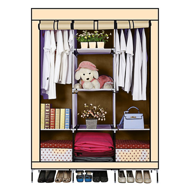 Yellow Non Woven M Portable Wardrobe Closet Storage Organizer Cupboard Cloth  Rack