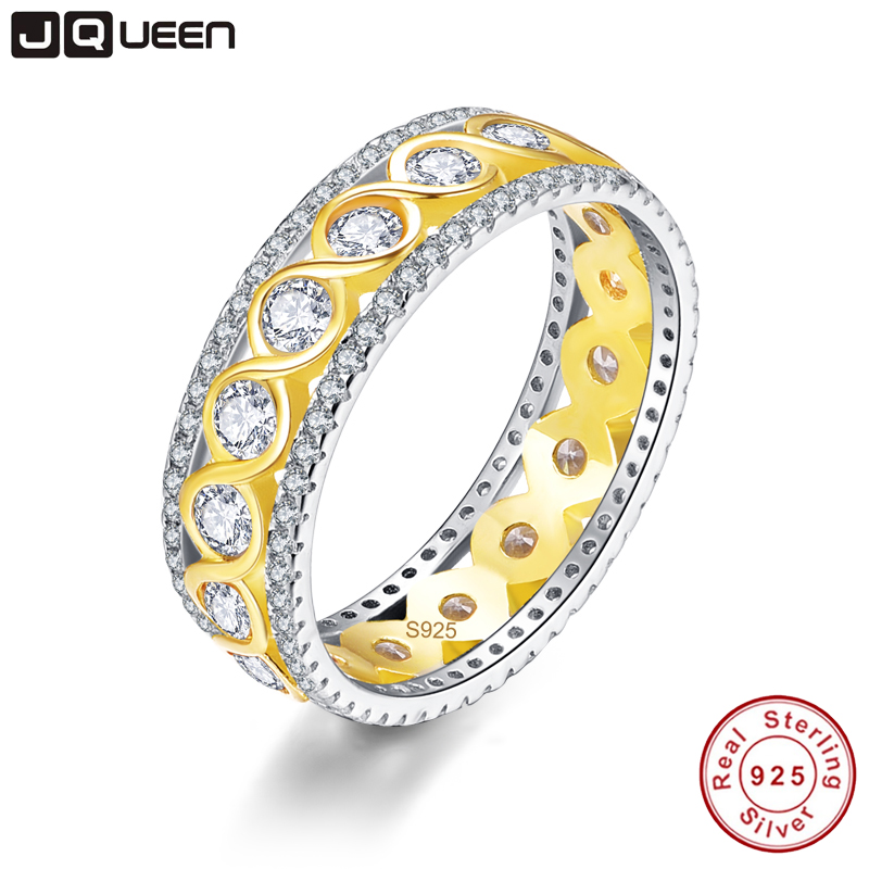 JQUEEN 4 78g Twisted Ring Silver 925 Jewelry Wedding Band 18k Gold Plated s925 Infinity Ring