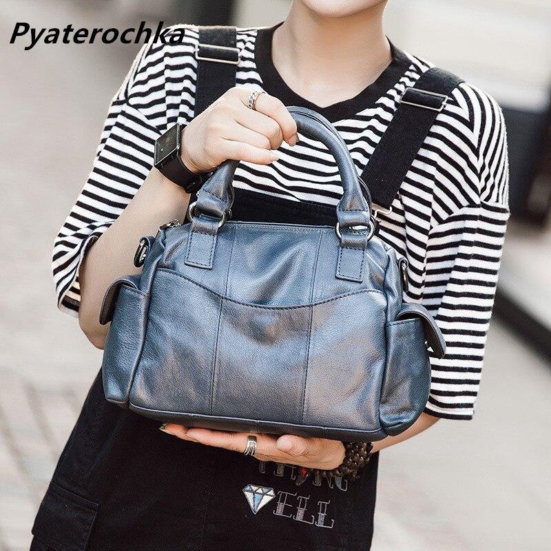 Pyaterochka Brand Fashion Women Vintage Handbag Leather Patchwork Small Boston Shoulder Crossbody Bag High Quality Messenger
