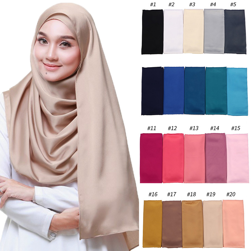 Image 1 - 1pc New Arrival Smooth Matt Color Satin Scarf Shawls Plain 