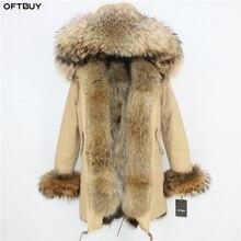 Oftbuy 새로운 겨울 자켓 여성 파카 리얼 모피 코트 천연 너구리 모피 칼라 리얼 폭스 모피 라이너 두꺼운 따뜻한 겉옷 streetwear