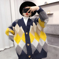 Vintage patchwork batwing sleeve knitted cardigans for women loose Medium long sweater 3colors 2018 new arrivals