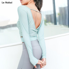 252ba00b46 Le Nakai Women White Cut out Wasite Yoga Shirts Fitness Crop Long Sleeve  Solid Running Sportswear