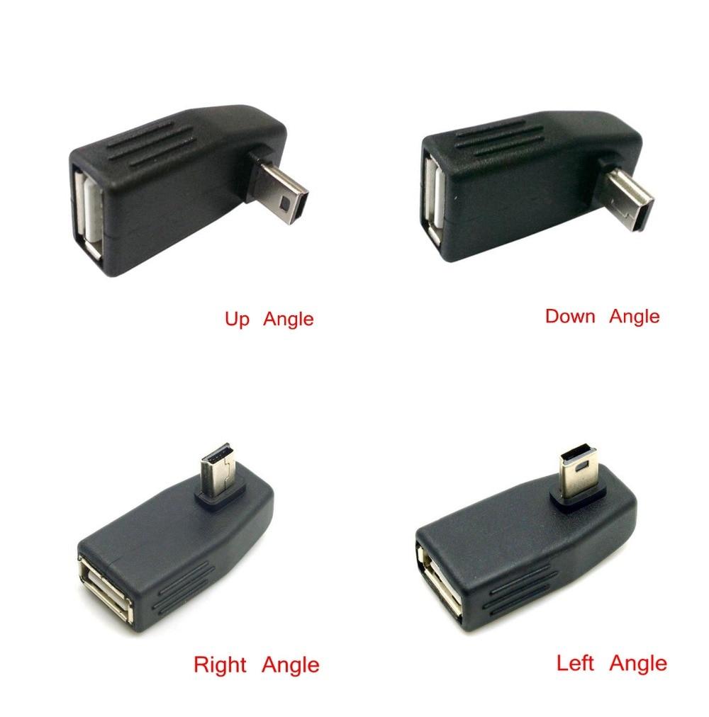 Мини USB 2,0 вверх и вниз и влево и вправо Anlgled OTG USB женщина к Mini 5 P разъем адаптера 90D USB OTG Хост