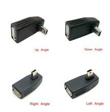 Mini USB 2.0 Up & Down & Left & Right Anlgled OTG USB Female to Mini 5P Male Adapter Connector 90D USB OTG HOST