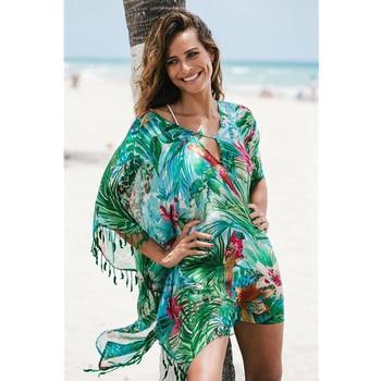 Women Print Pareo Beach Cover Up Chiffon Saida De Praia tunic Summer dress beach bikini cover up Swimsuit Kaftan Swim Beach Wear 2