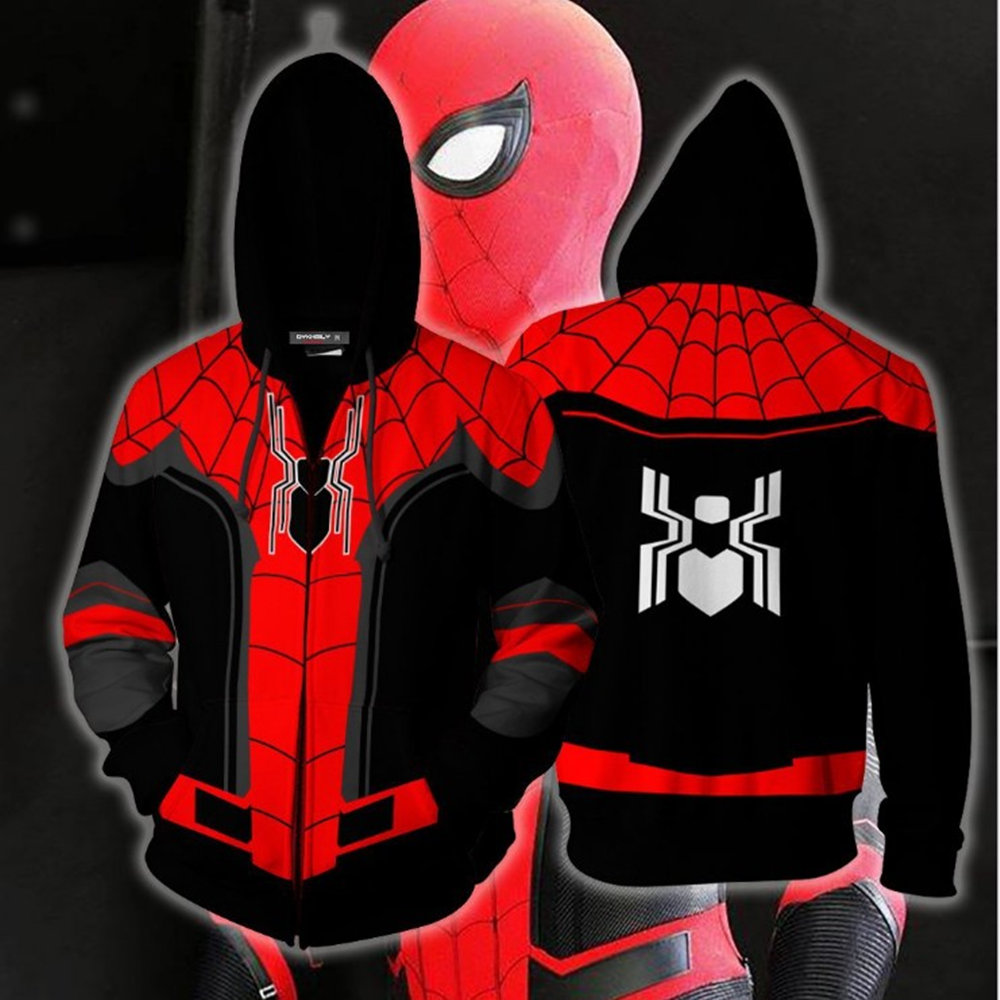 Hot Superhero Spiderman Into the Spider Verse Miles Morales Spider man Cosplay Costumes Sweatshirt Hoodie Coat Jacket