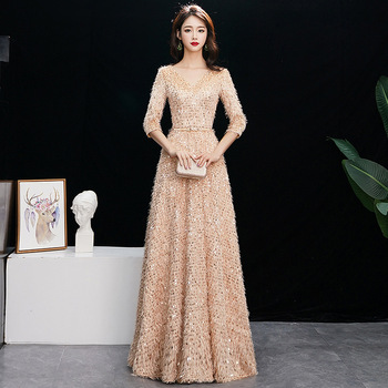 V-neck Sequin Evening party Dresses Vestido de Festa Prom Gowns Feathers Half sleeve Formal Dress Evening Gown for Women 2019