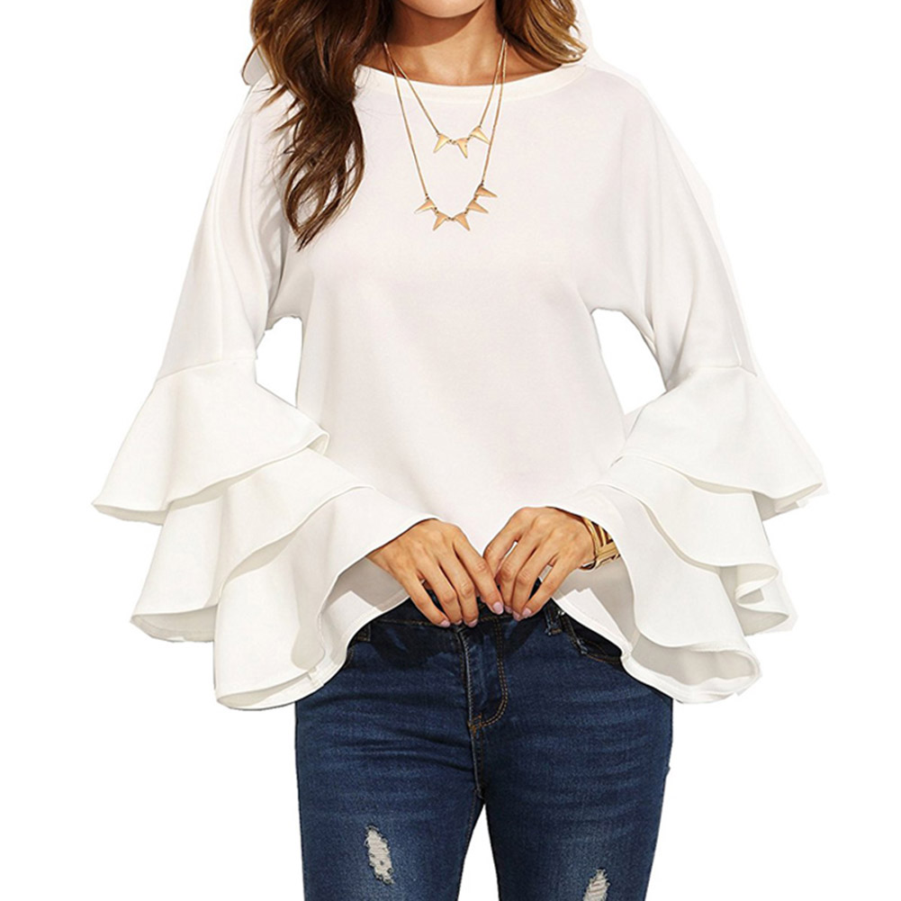 White Round Neck Ruffle Long Sleeve Shirt Ladies Work Wear Fashion Tops Women Vogue Blouse 3 Colors