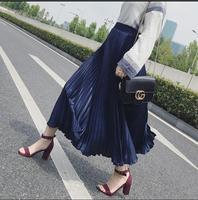 Gold pleated skirt Long skirt women