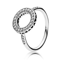 Trendy 100% Real 925 Sterling Silver Ring Fashion Hearts Of Halo Ring Women Engagement Wedding Ring Fine Pans Jewelry Gift