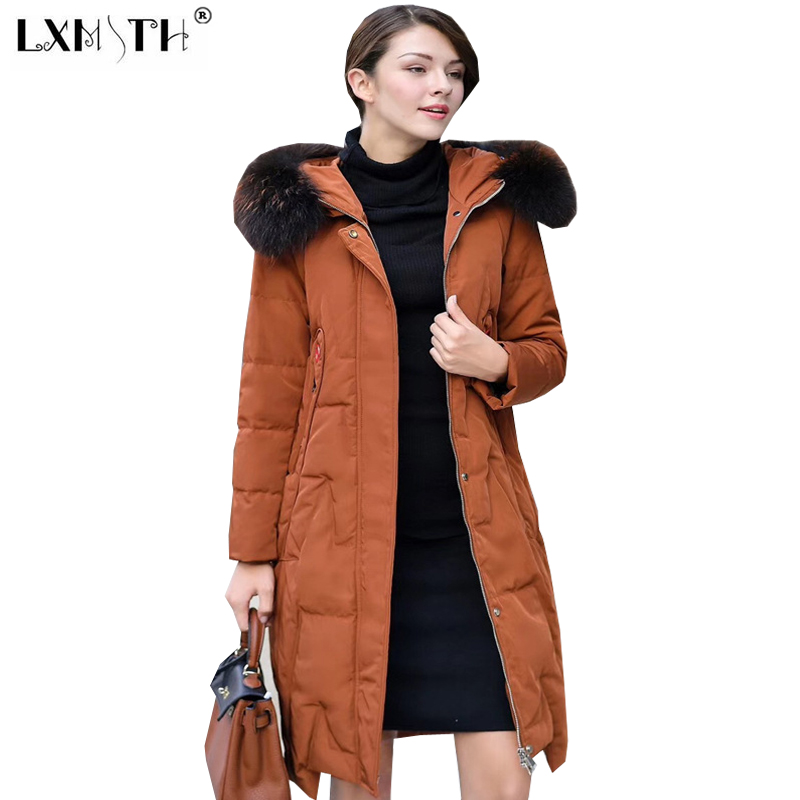 2017 New Style Winter Long Coats Of Woman Hooded Big Fur Collar Parka Women Zipper Fly Pockets Women's Park Slim Coat Caramel 2017 winter new clothes to overcome the coat of women in the long reed rabbit hair fur fur coat fox raccoon fur collar