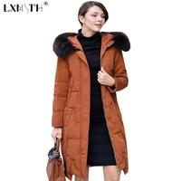2018 New Style Winter Long Coats Of Woman Hooded Big Fur Collar Parka Women Zipper Fly Pockets Women's Park Slim Coat Caramel