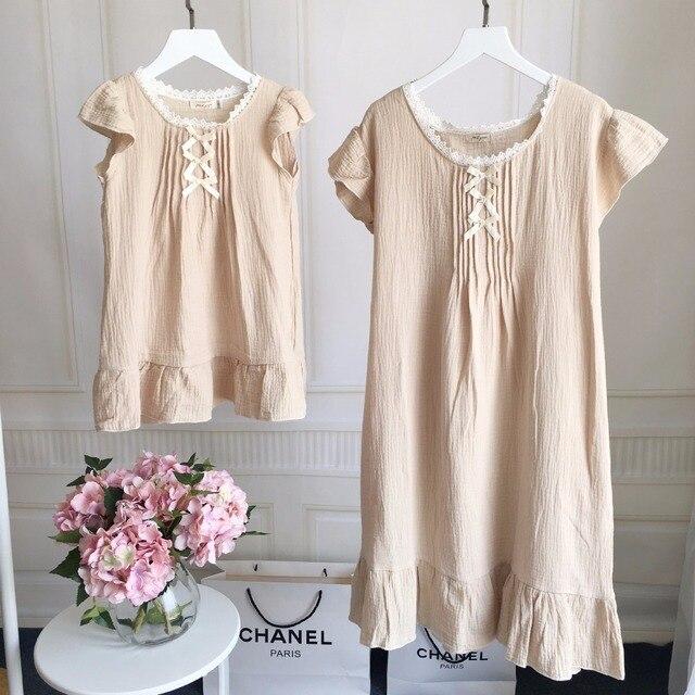 Семьи сопоставления одежда мать и дочь одежда набор пижамы о-образным вырезом с коротким рукавом твердые бежевый лук платье 2 шт. летом