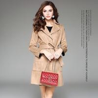 European Station Women S Autumn And Winter Women S Large Lapel Denim Dark Buckle Long Coat