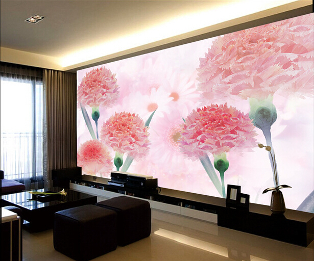 Custom pink wallpaper, dreamy pink carnation murals for the living ...