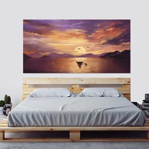 Image 1 - Setting Sun Beautiful Lake Scene Newest Fashion Wall Decal Wholesale Headboard Dorm Decor Bed Frame Vinyl Family Art Sticker