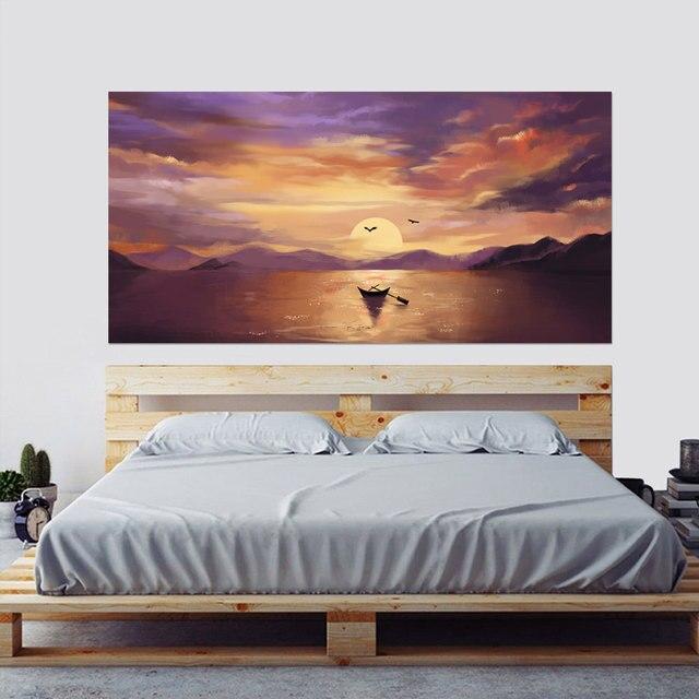 Setting Sun Beautiful Lake Scene Newest Fashion Wall Decal Wholesale Headboard Dorm Decor Bed Frame Vinyl Family Art Sticker