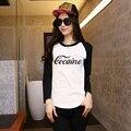 Co caine Womens Black White Raglan Sleeve Print T Shirt Women Printed Tshirt Loose Top Tees Rock Punk Novel Hippie European Cool