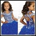 Cap Manga 2016 Gorgeous Azul Real Vestidos de Niña Halter Balón vestido de Organza de la Longitud Del Tobillo de Cristal Niñas Vestidos Del Desfile